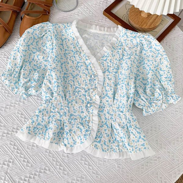 Retro French Puff Sleeve Floral Top