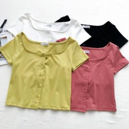 Short Sleeve Square Collar Soft Girl Tee