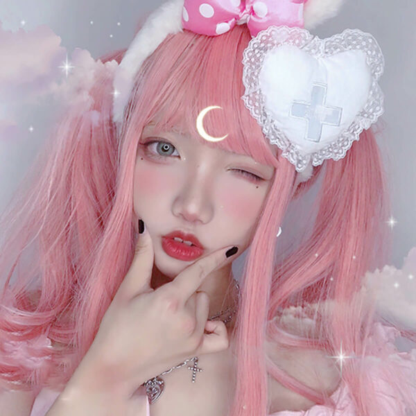 Soft Ash Pink Doll Girl Aesthetic Wig