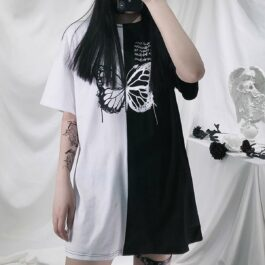Split Double Color Butterfly EGirl T-Shirt