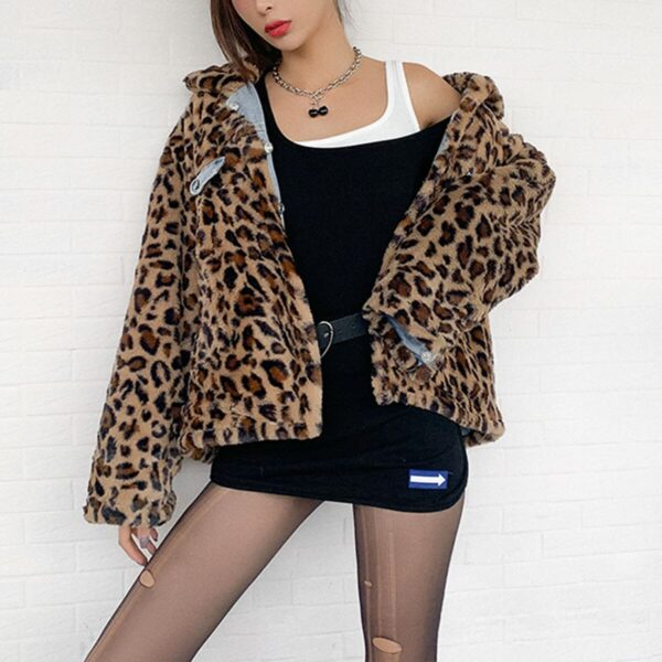Street Leopard Retro Double Side Denim Jacket