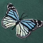 Swamp Green Butterfly Embroidered T-Shirt