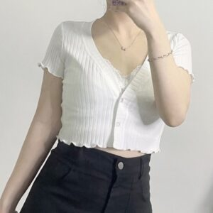White Lined V Neck Soft Girl Top photo review
