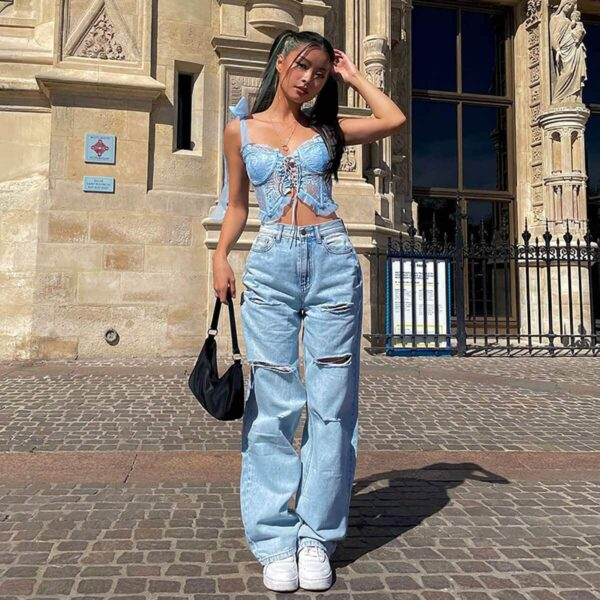 Baddie Laced Camisole Top Light Blue