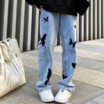 Black Butterfly Aesthetic Straight Jeans