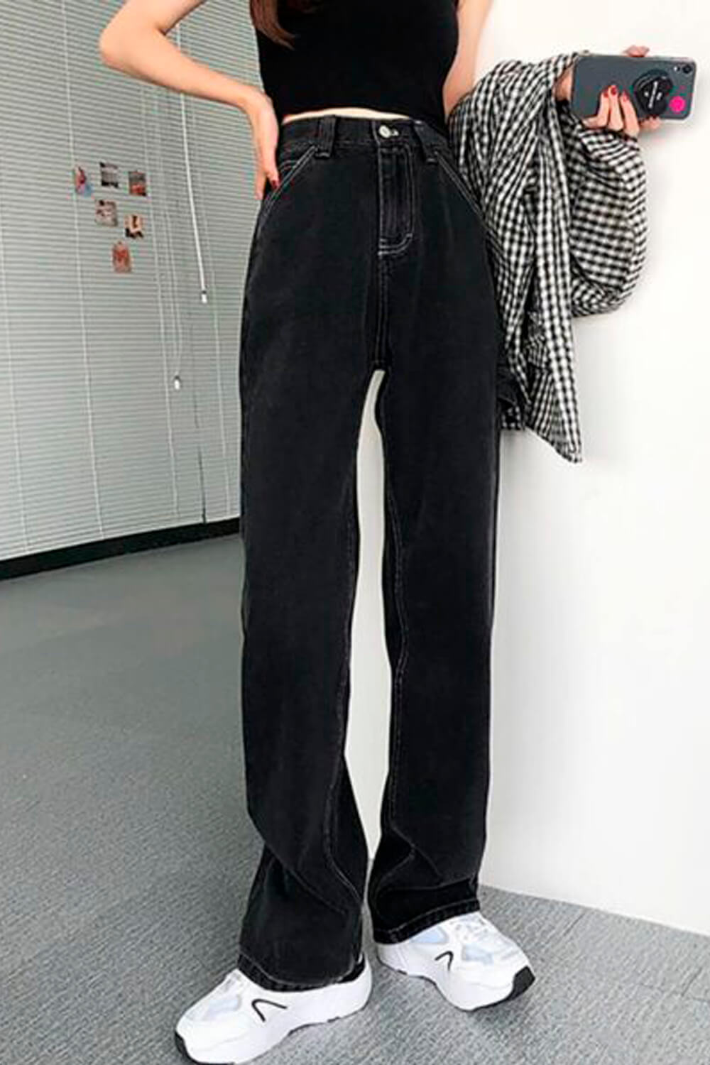 Black Retro Straight Mopping Jeans