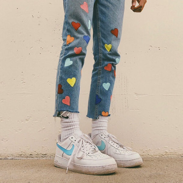 Colored Hearts Kidcore Aesthetic Jeans