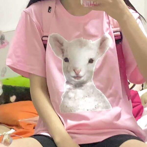 Cute Baby Goat Pink Aesthetic T-Shirt