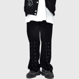 Front Leg Rings Black Korean Grunge Pants