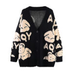 Retro Bear Thick Knitted Cardigan