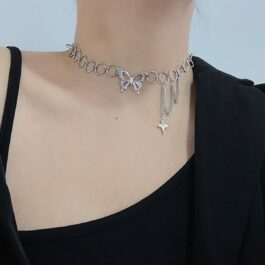 Rings Chain Grunge Butterfly Necklace