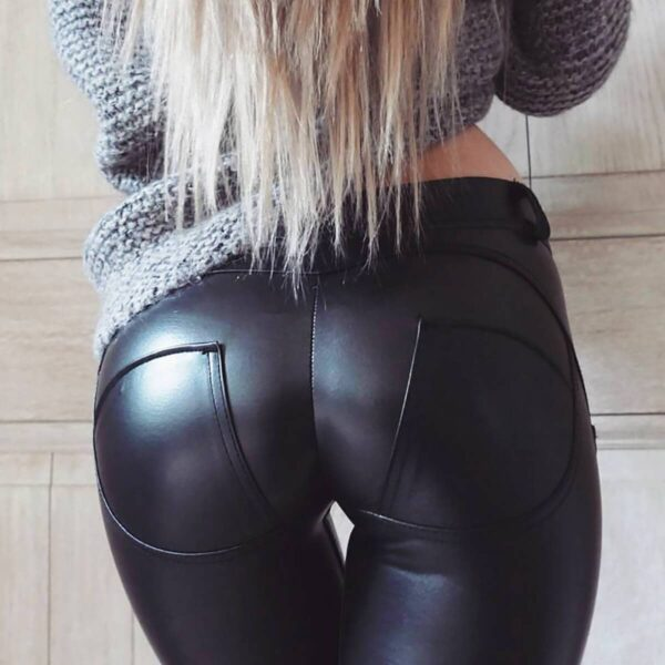 Sexy Eco Leather Pants Low Waisted Skinny