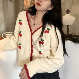 White Cherry V-Neck Cute Cardigan