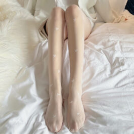 White Cute Small Beautiful Bows Tights