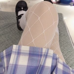 White UV Glowing Aesthetic Fishnet Tights photo review
