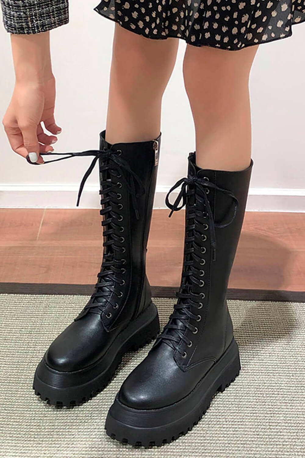 Black Alt Girl High Combat Boots Thick Sole