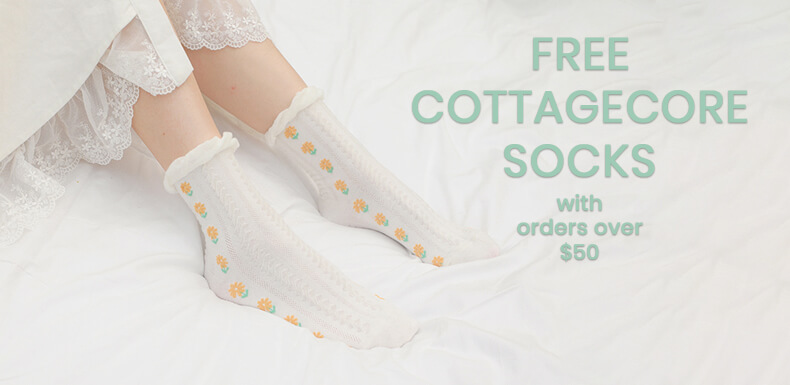 Free Cottagecore Socks with every order over 50 banner Orezoria Aesthetic Clothes Shop