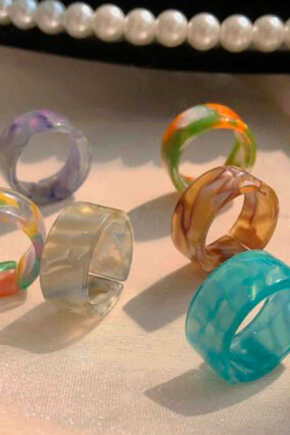 Mixed Color 90s Aesthetic Rings