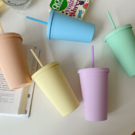 Soft Pastel Macaron Color Straw Handy Cup