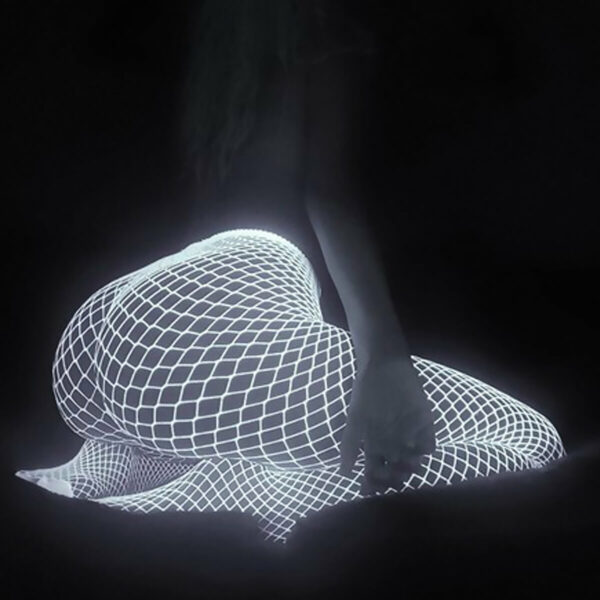 White UV Glowing Aesthetic Fishnet Tights
