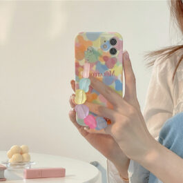 Cute Colored Hearts Handle iPhone Case