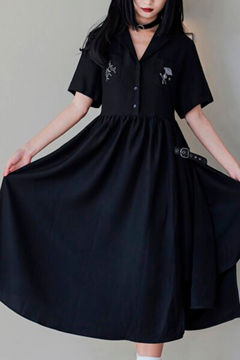 Space Map Embroidery Black Witch Dress