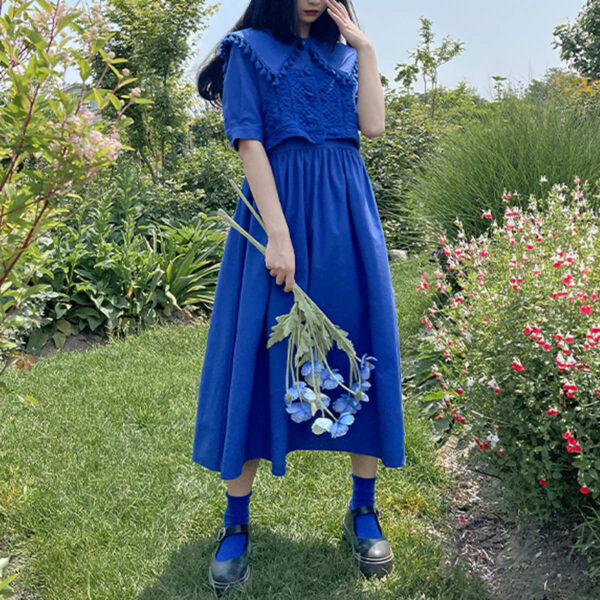 Bright Blue Vintage Collar Countrycore Dress
