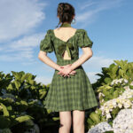 Green Plaid Cottagecore Dress with Collar