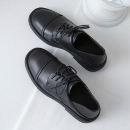 Black Eco Leather College Shoes