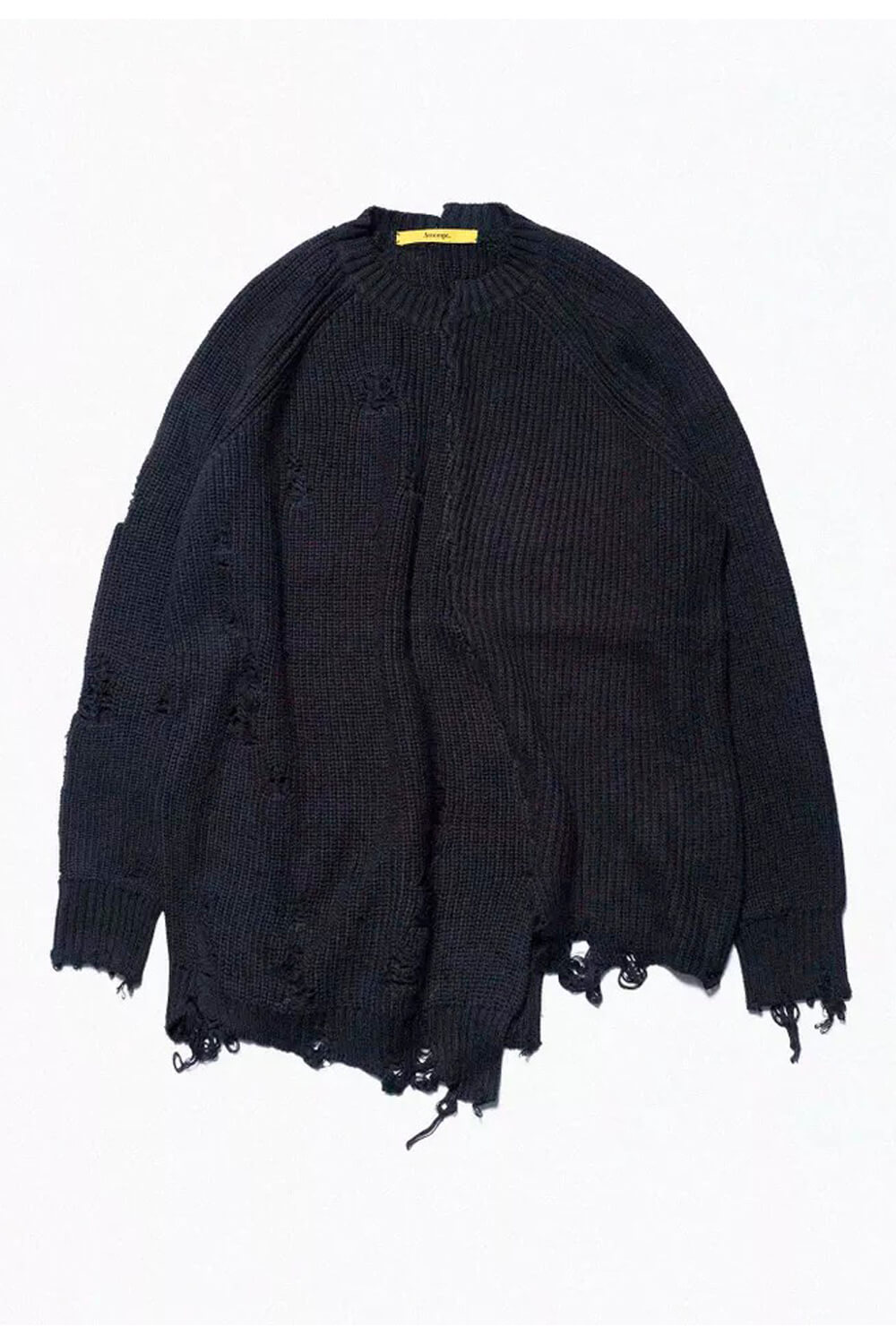 Black Ripped Knitted Grunge Aesthetic Sweater
