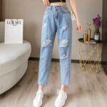 Blue Washed High Waist Ripped Straight Jeans