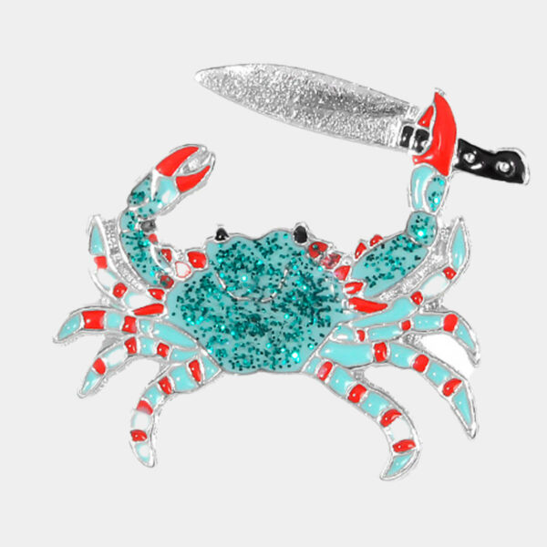 Crab With a Knife Enamel Pin Badge