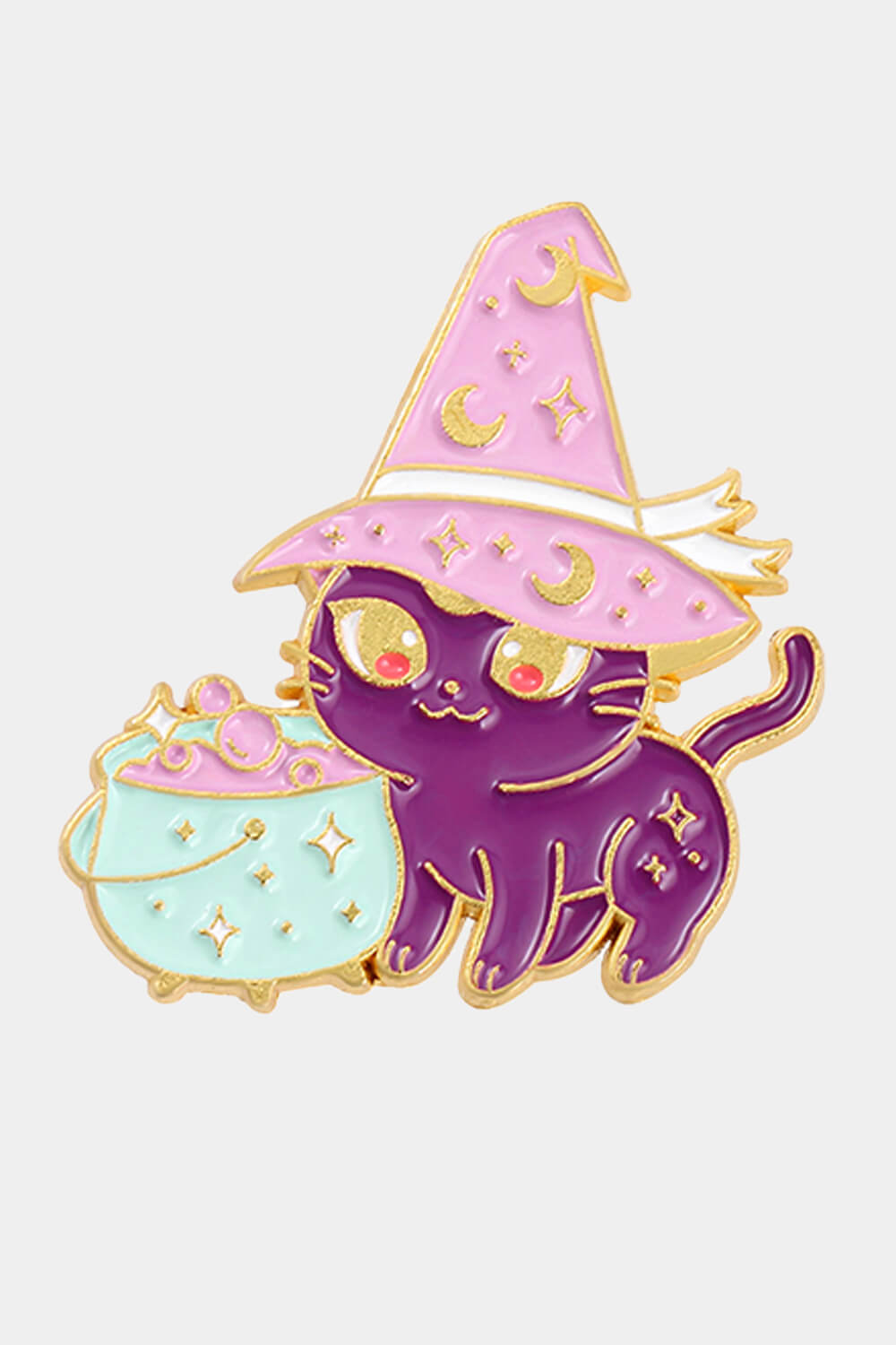 Cute Cat Witch With Cauldron Enamel Pin