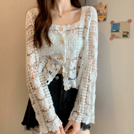 French Aesthetic Long-Sleeved Short Lace Cardigan