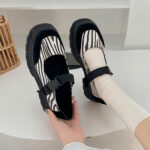 Gray Zebra Print Thick Sole Mary Jane Shoes