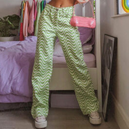 Green Fuzz Wave Indie Aesthetic Jeans