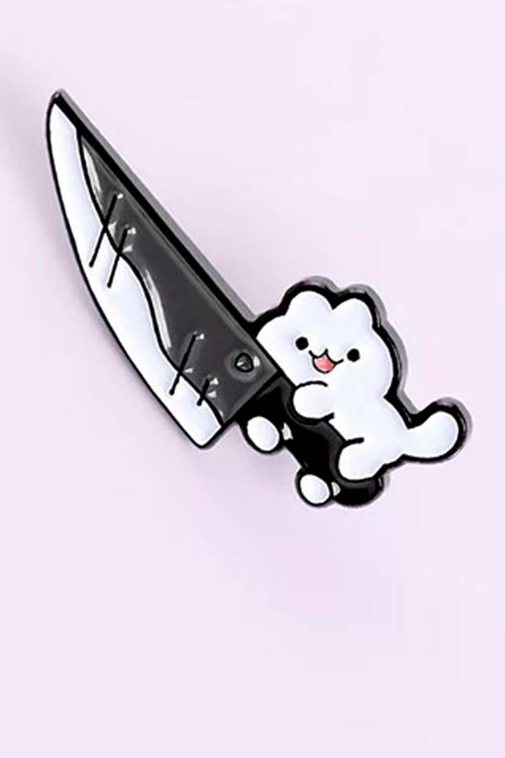 Small Cute Cat With Knife Enamel Pin