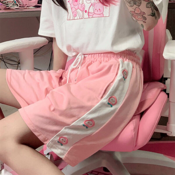 Sweet Embroidered Peach Soft Girl Shorts