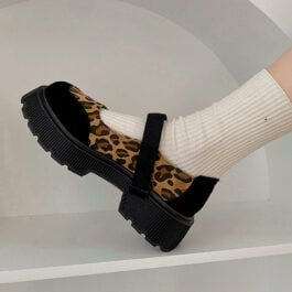 Wild Leopard Print Thick Sole Mary Jane Shoes