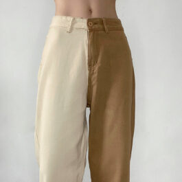 Beige and Brown Split Color Softie Jeans