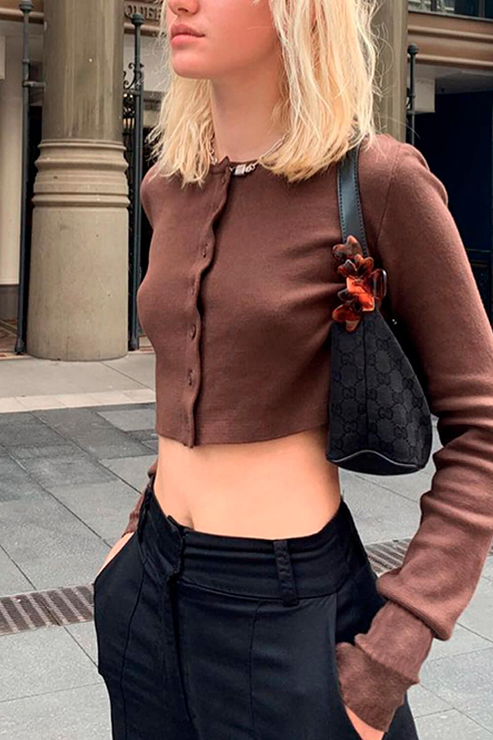 Brown Cropped Aesthetic Cardigan Top