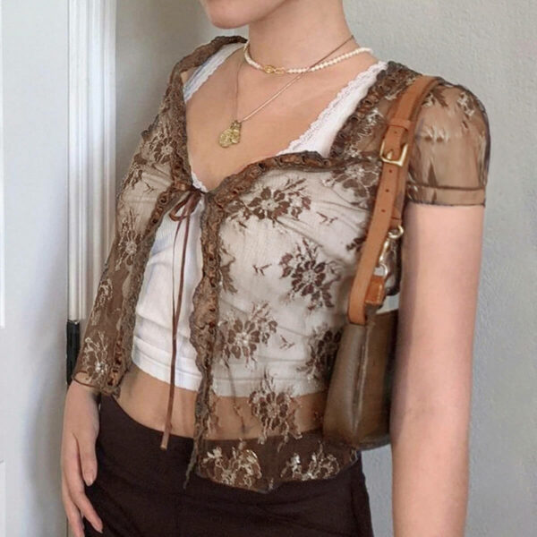 Brown Lace Translucent Short Sleeved Top