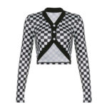 Checkered Grid Cropped Cardigan