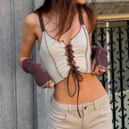 Contrast Hemming Stitching Vest Top and Sleeves