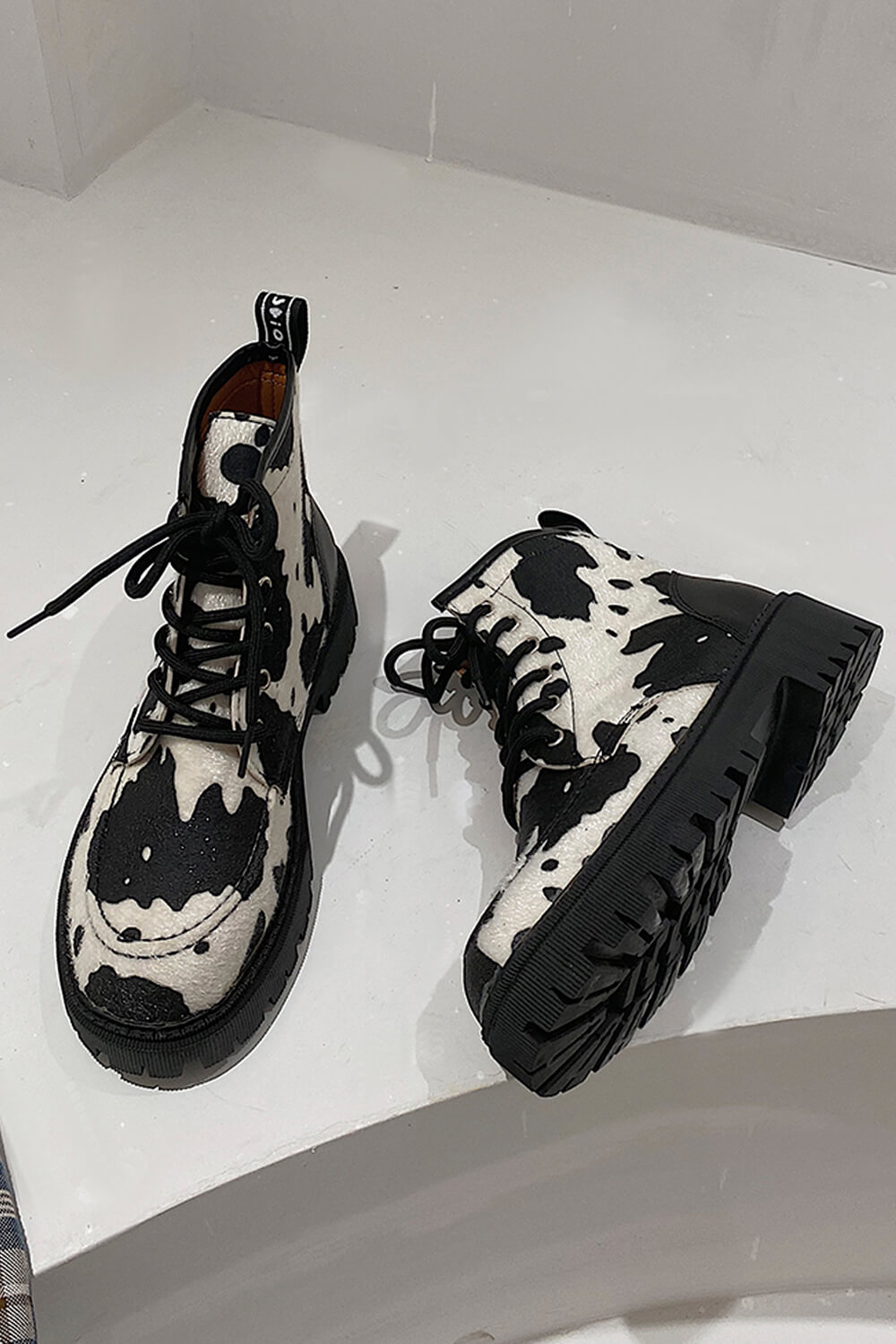 Eco Leather British Boots Cow Aesthetic