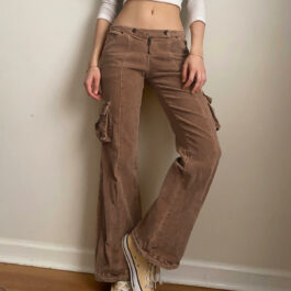 Low Waist Brown Flared Aesthetic Pants