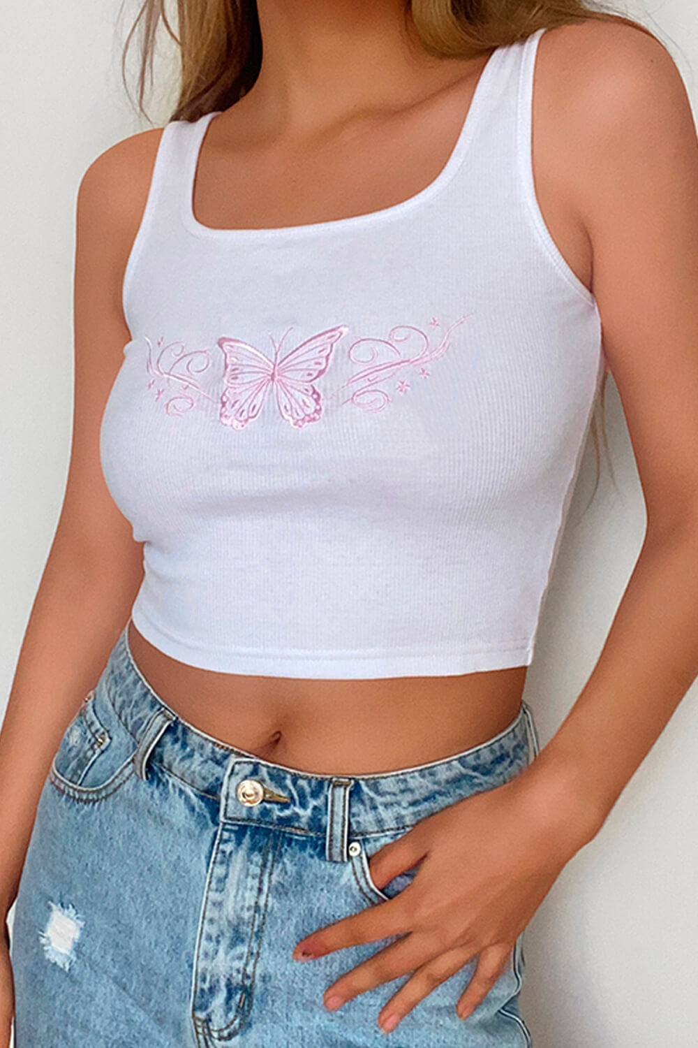 Pink Butterfly Embroidery White Tank Top