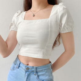 White Soft Girl Top Square Neck Puff Sleeve